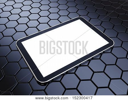 Generic tablet with blank isolated screen on dark honeycomb background , Mobile device , 3d illustration