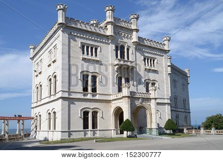 View of Miramare Castle in Trieste (Italy).