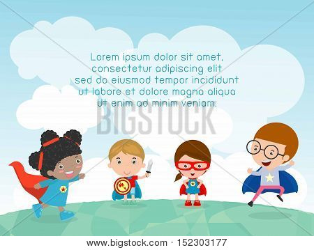 superhero kids at playground, Template for advertising brochure,your text ,Cute little Children's, Kids and frame,child and frame,Vector Illustration