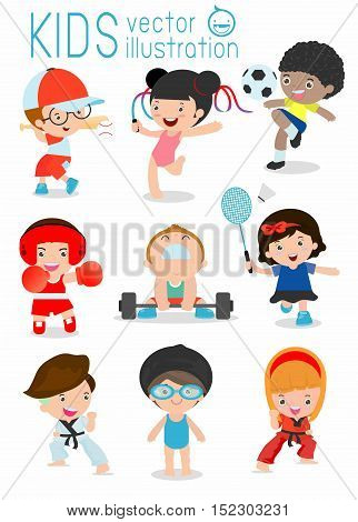 kids and sport, Kids playing various sports, Cartoon child sports,boxing, football, Taekwondo, karate, Swimming, judo,Baseball,Weight-lifting,Gymnastics, badminton, kids,children,sport