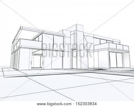3D rendering of a building perspective in draft mode