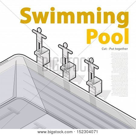 Race swimmers start to jump. Swimming pool with swimmer, outlined isometric. Sportsmen on springboard prepare to swim in water. Sport article illustration. Pictogram 3d element. Isolated master vector