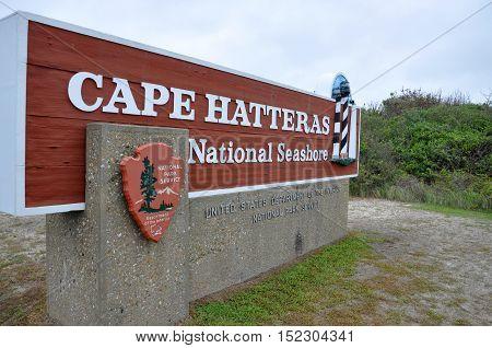 NORTH CAROLINA, USA - MAY 6: Sign of Cape Hatteras National Seashore on May 6th, 2012 in North Carolina, USA.