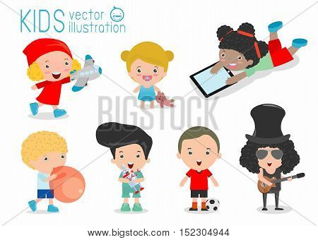 happy kids with toys, children play with toys, cute kids playing with toys, child with toys,kids at playground on white background, Happy children playing, kids time, kid toys, child toy, Illustration