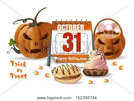 Halloween design with Halloween calendar, jack-o'-lantern, candy corn and basket with sweets. 31 October. Trick or Treat. Vector illustration