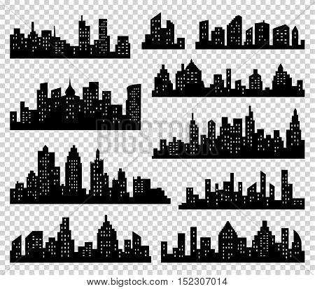 City silhouette vector set. Panorama city background. Skyline urban border collection. Buildings with windows on transparrent background