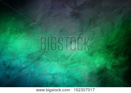 Full frame rendered random marbled dark green stone background with copy space