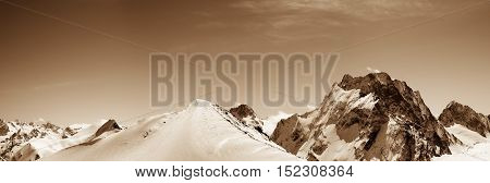 Panoramic View On Off-piste Slope In Snow Winter Mountains
