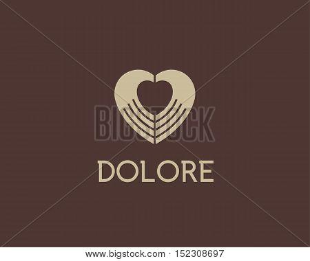 Heart negative space hands vector logotype. Charity medical sign symbol. Spa beauty salon massage logo icon design