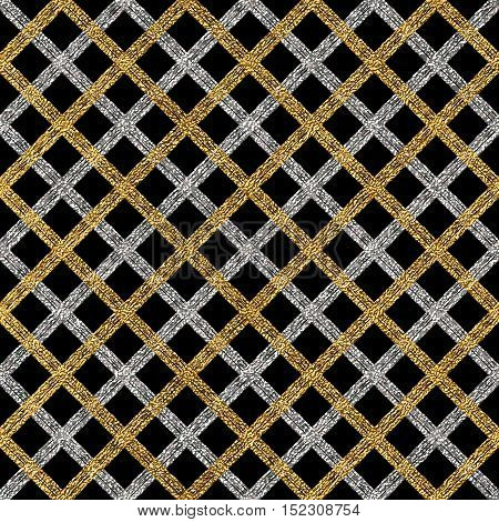 Grunge seamless pattern of gold silver diagonal stripes or lines, seamless golden silver background cage, strokes, hand painted vector pattern