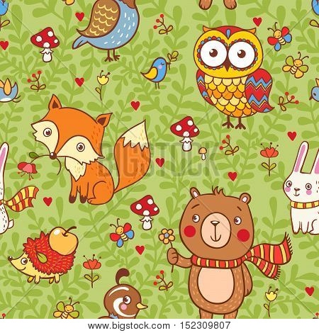 Cute seamless pattern with forest animals fox bear owl bird rabbit quail hedgehog