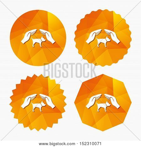 Protection of animals pets sign icon. Hands protect dog symbol. Shelter for dogs. Animals insurance. Triangular low poly buttons with flat icon. Vector