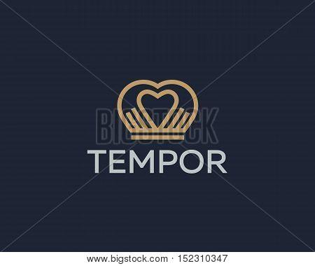 Heart crown hands vector logotype. Spa beauty salon massage logo icon design. Charity medical sign symbol
