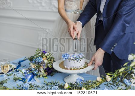 Bride and groom at wedding cutting the wedding cake, serenity color