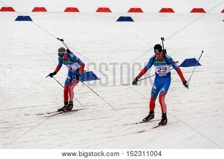 Tyumen, Russia - April 7, 2012: Biathlon the Race of Champions in the Pearl of Russia center