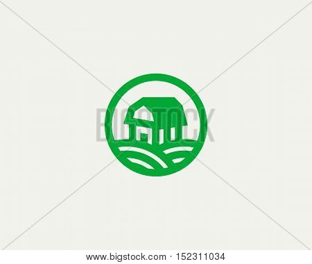 Farm house vector logotype. Natural farm organic products logo symbol