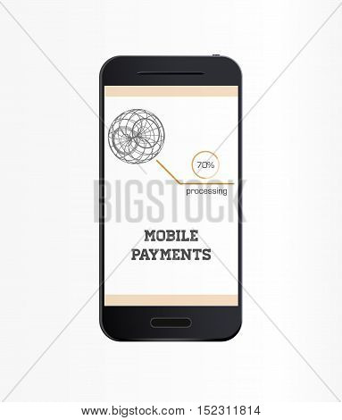 Mobile payment flat design style vector illustration