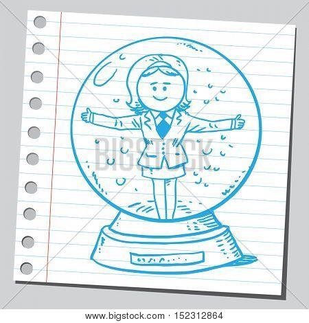 Businesswoman in snow globe