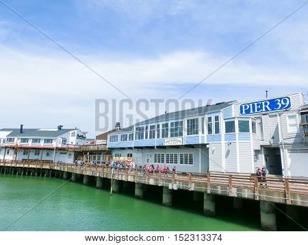 San Francisco California United States of America - May 04 2016:The Pier 39 fisherman's wharf at San Francisco. Pier 39 is a famous tourist spot in San Francisco area and usually crowded in the weekend.