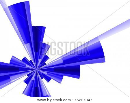 abstract futuristic figure of blue color on a white background poster