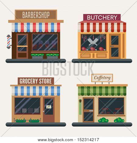 Set of shops. Flat vector illustration stock set.