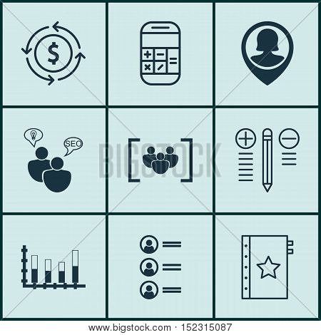 Set Of 9 Universal Editable Icons For Seo, Marketing And Airport Topics. Includes Icons Such As Mone