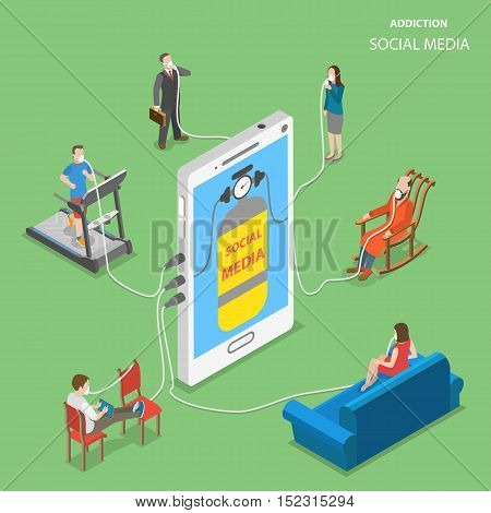 Social media addiction flat vector isometric conceptual illustration. People surrounded the smart phone that contain the oxygen cylinder on its screen. People are connected to the phone over the oxygen masks to have access to social media.