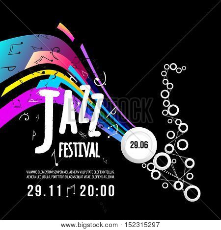 Jazz festival poster template. Jazz music. Rainbow Saxophone. International Jazz Day. Vector design element.