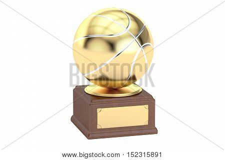 Gold award cup basketball 3D rendering isolated on white background