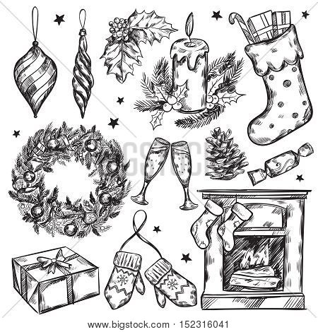 Sketch christmas gifts icon set with Christmas attributes and traditions in black color vector illustraiton