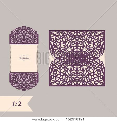 Abstract wedding cutout invitation template. Suitable for lasercutting. Lazercut vector wedding invitation template. Lazer cut vector. Lace folds. Gate fold wedding invitation mockup.