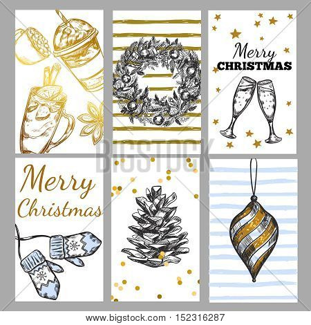 Sketch christmas tag set with merry Christmas congrats descriptions Christmas toys and attributes vector illustration
