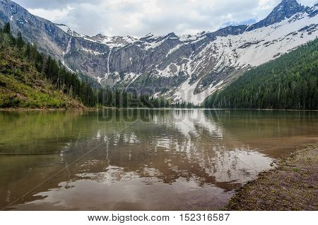 Scenic view of Avalanche Lake and glaciers in Glacier National Park MontanaUSA
