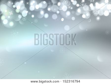 Vector illustration of winter bokeh background with snowflakes. Northern lights, festive defocused lights, snowflakes.