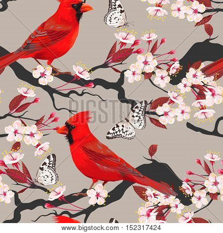Cardinal and blooming cherry vector seamless background