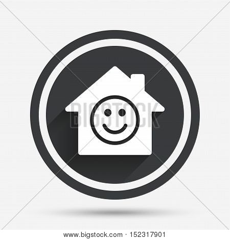 Comedy club. Smile icon. Happy face chat symbol. Circle flat button with shadow and border. Vector