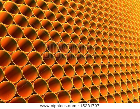 Abstract futuristic background from golden round hollow pipes