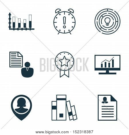 Set Of 9 Universal Editable Icons For Education, Human Resources And Statistics Topics. Includes Ico