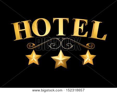 Golden sign of the hotel on a black background - 3 stars (3d rendering).
