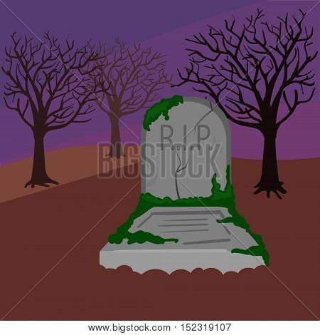 Grave in the cemetery. Dark night. Colorful hand drawn cartoon vector illustration