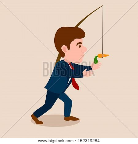 Man chasing a carrot cartoon. Work for consumption metaphor. Colorful hand drawn vector illustration