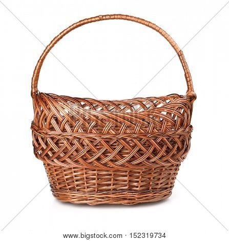 Front view of empty wicker basket isolated on white