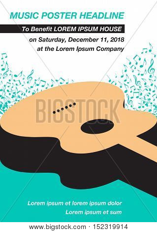 Guitar Music Concert Poster Layout Template with notes