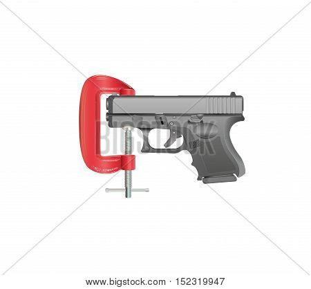 Gun Control - an illustration of a handgun gripped in a G clamp. Gradients, gradient meshes and transparencies have been used.