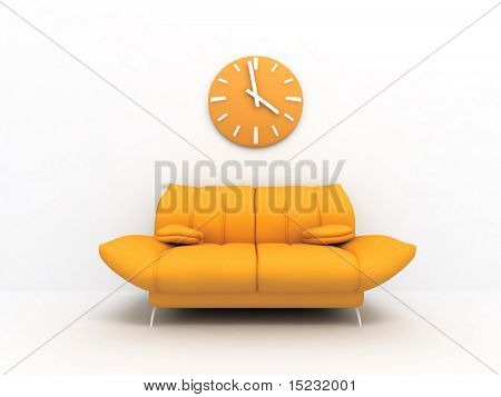 Orange sofa and clock in modern interior of a light living room