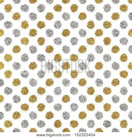 Seamless pattern of gold glitter and silver polka dots, hand drawn background of golden and silvern circle, vector pattern for flyer, wedding card, invitation, holiday, wrapping, textile, web design