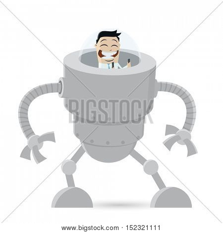 clipart of a businessman in a big robot