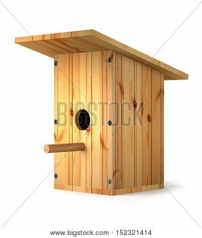 Wooden homemade birdhouse for birds on white background (3d illustration).