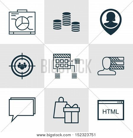 Set Of 9 Universal Editable Icons For Project Management, Human Resources And Marketing Topics. Incl