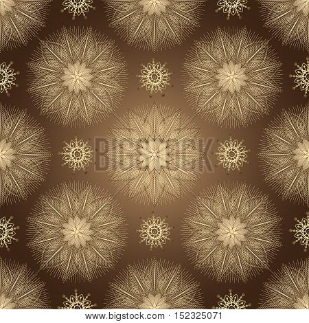 Browne seamless pattern with shiny gradient golden vintage flowers vector